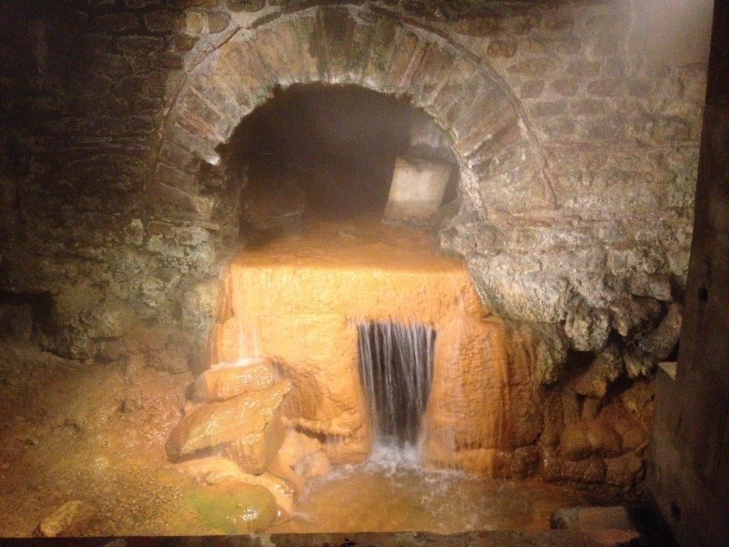 The steaming water that fills the baths comes from an underground spring.