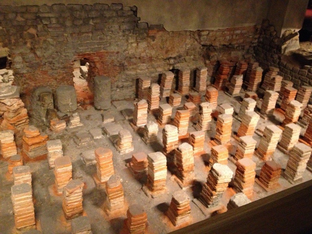 An example of a hypocaust, the underfloor heating the Romans perfected in the first century.