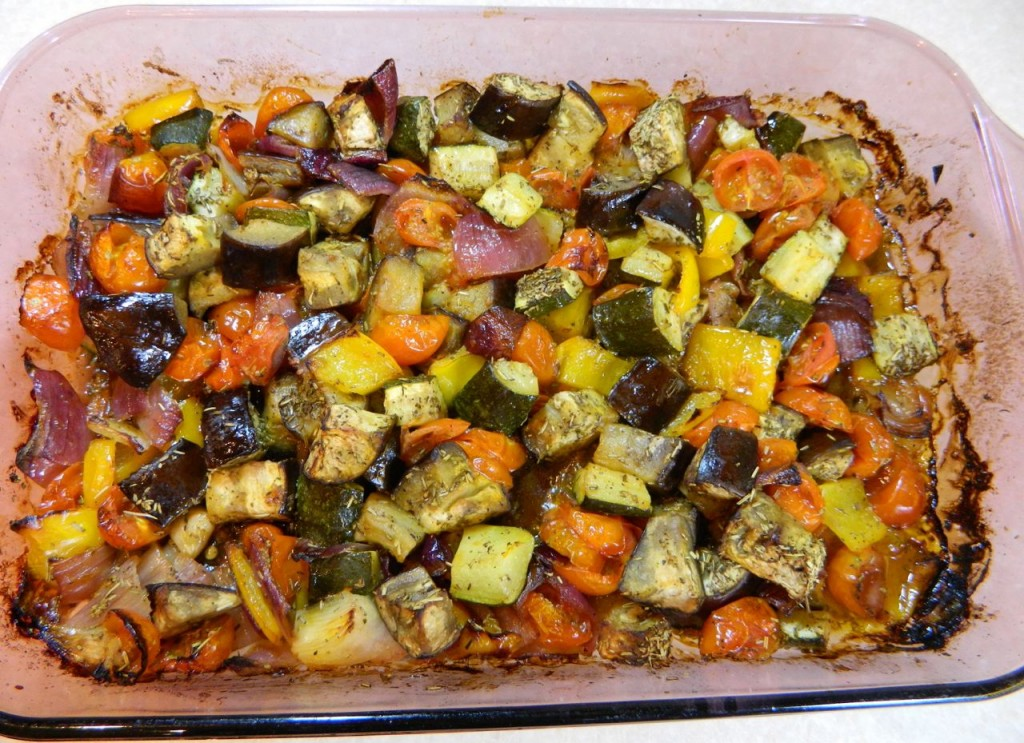 ... eggplant, zucchini, peppers, red onion, garlic and cherry tomatoes