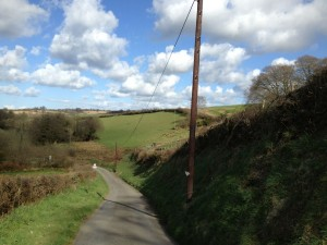 Owlaborough Lane, winding through the hills near Knowstone