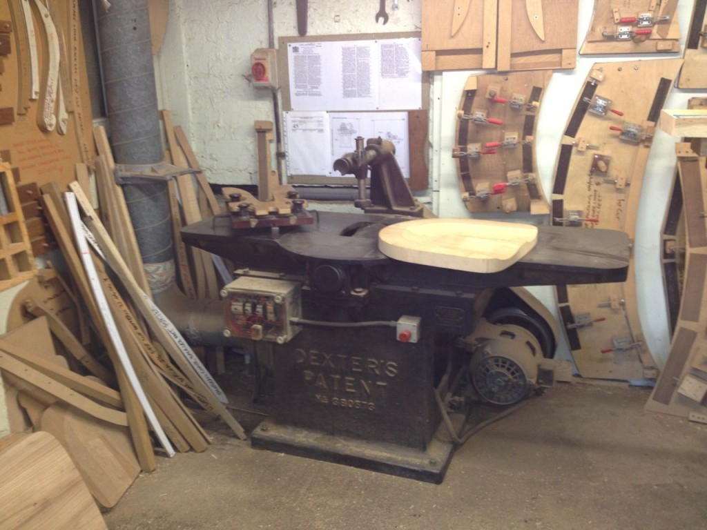 This machine from the 1930s, used for making chair seats, is one of a kind, yet it still works!