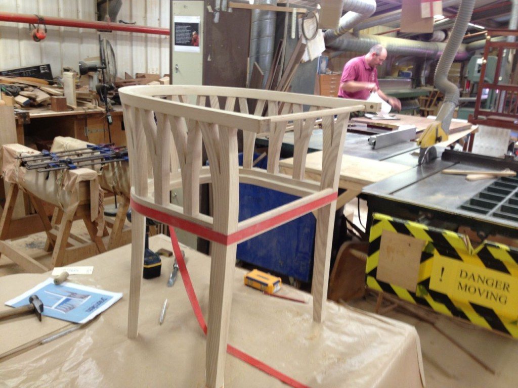 A custom chair being built at Stewart Linford.